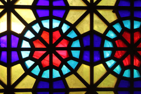 Multicolored stained glass, background, texture