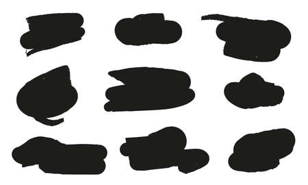 Set of hand drawn paint object black on white background. Vector black paint, ink brush stroke, brush. Scribble texture. Archivio Fotografico - 131617815
