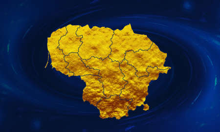 Lithuania map in gold wrap. Lithuania in gold. Lithuania map on blue abstract background