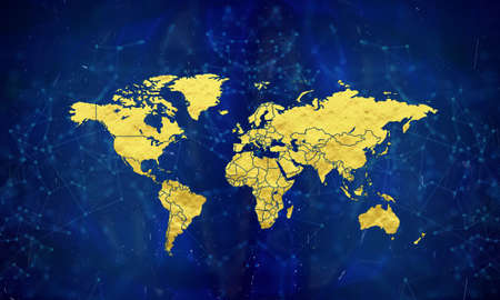 World map in gold wrap.world in gold. World map on blue abstract background