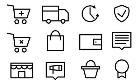 Set pictogram supermarket services, Shopping Icons. Online Shopping Illustration