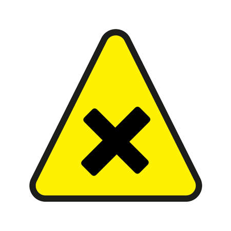 Triangular yellow Warning Hazard Symbol, vector illustration. Harmful yellow sign on a white background. Part of a series.