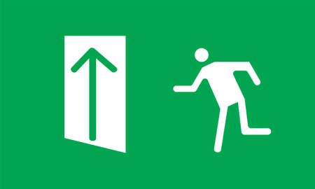 Evacuation plate Exit here Illustration. Fire safety. Green color Fire emergency exit sign