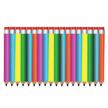 colored pencil set loosely arranged - vector on white background.