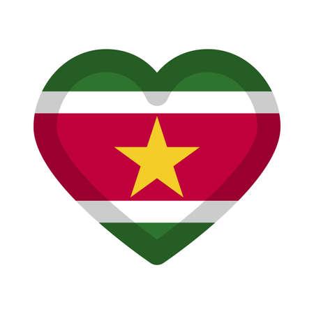 Suriname national flag in heart shape vector illustration