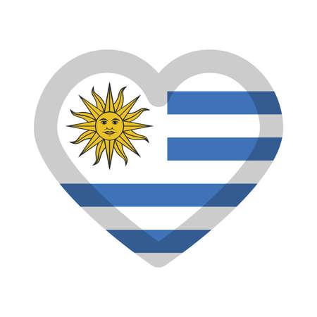 Uruguay flag heart graphic element Illustration template design