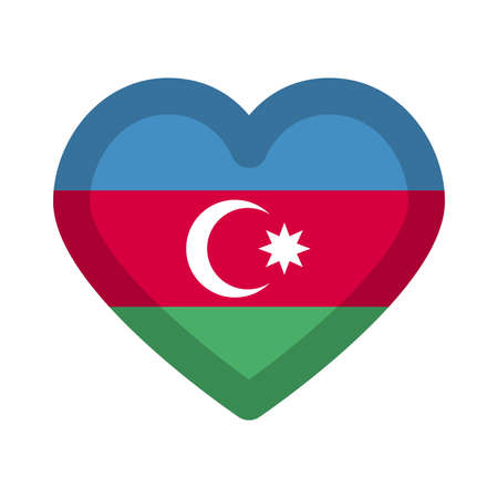 Azerbaijan flag heart graphic element Illustration template design