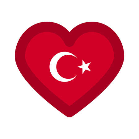 Turkey flag heart graphic element Illustration template design