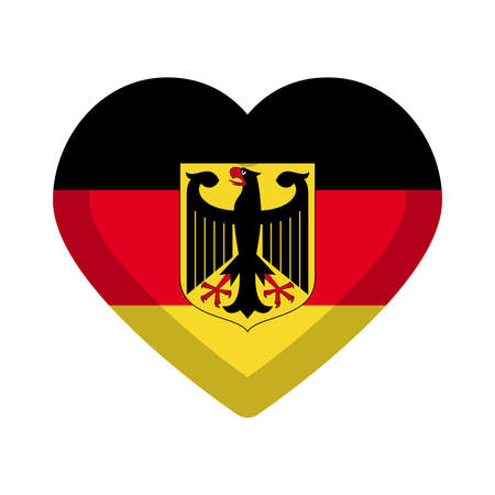 Germany flag heart graphic element Illustration template design