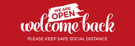 Open sign on the front door - welcome back We are working again. Keep social distance. Vector Vettoriali