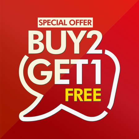 Buy 2 get 1 free in brackets speech red sticker icon