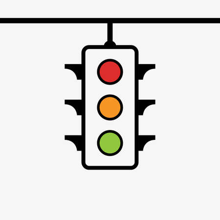 Traffic control light signal with red, yellow and green color flat icon for apps and websites