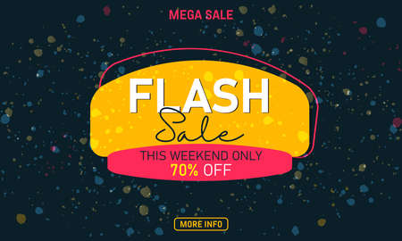 Flash Sale banner or poster. Mega Sale. Vector illustration.