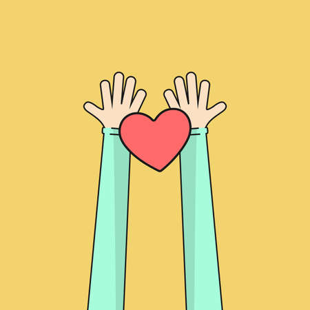 Hands holding the heart on a white background. Vector illustration. Place for your text. EPS 10