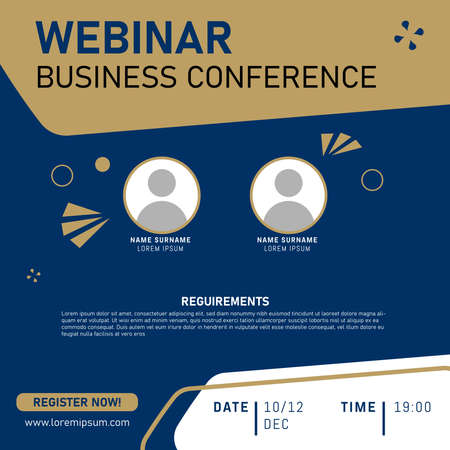 Business Conference. Live webinar invite template. Banner live webinar promotion for social media. Eps 10
