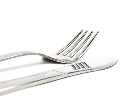 knife and fork isolated on the white background photo