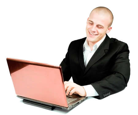 young man working in office on laptop Stock Photo - 4712212