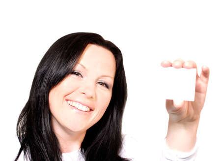 businesscard: woman holding businesscard over white Stock Photo