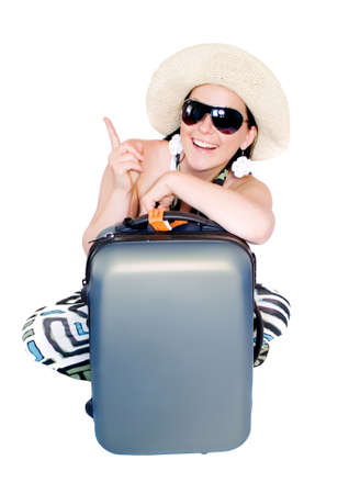 woman going on vacation with suitcase over white Stock Photo
