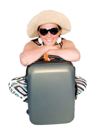 woman going on vacation with suitcase over white photo