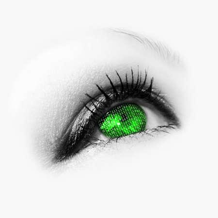 green eye with binary code photo