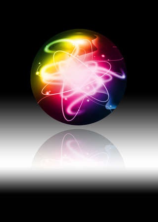 glob: abstract colorful sphere with energy beam on black background