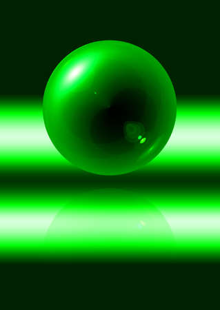 abstract green sphere with reflection on black background photo