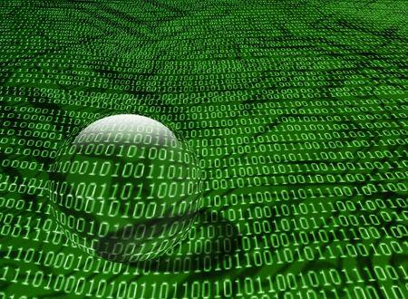 binary code background with glass ball photo