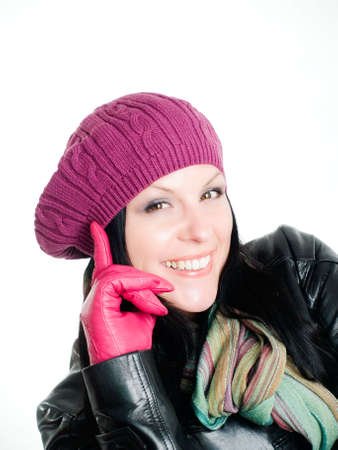 smiling brunette woman in fall clothes photo
