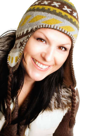 closeup of smiling brunette woman in winter clothes over white Stock Photo - 5620536