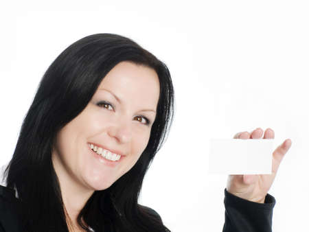 businesscard: smiling brunette businesswoman holding businesscard