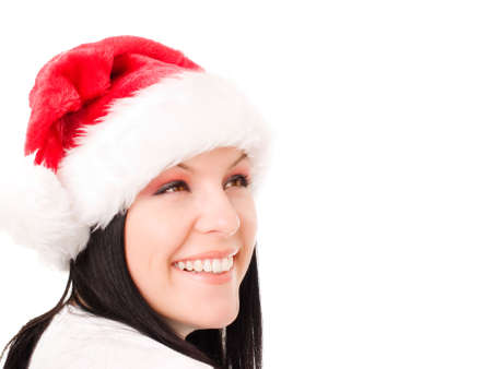 young christmas woman looking at copyspace over white photo