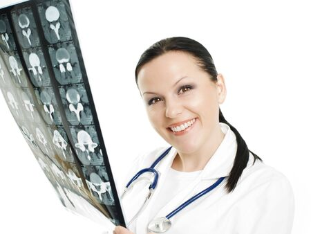 Portrait of female doctor examining x-ray picture Stock Photo - 5812015