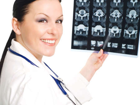 Portrait of female doctor examining x-ray picture Stock Photo - 5812003