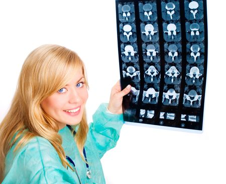 Portrait of female doctor examining x-ray picture Stock Photo - 5946056