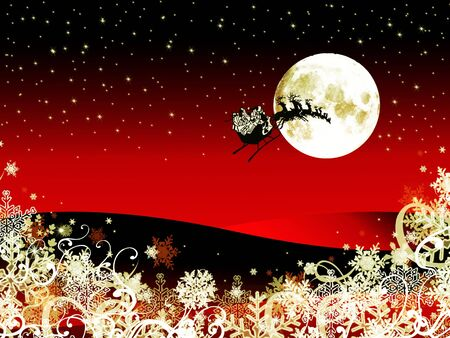 abstract christmas background with santa claus moving to the sky photo