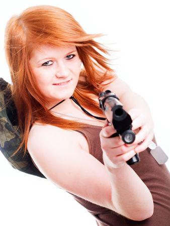 red warrior girl holding gun over white background