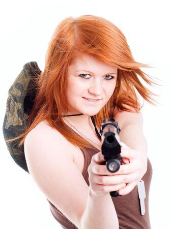 camos: red warrior girl holding gun over white background