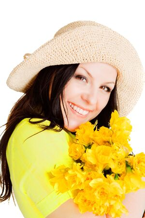 spring beautiful woman holding flowers over white background photo