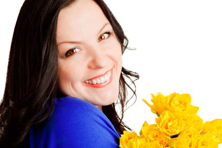 smiling beaufilur woman holding flowers over white background Stock Photo