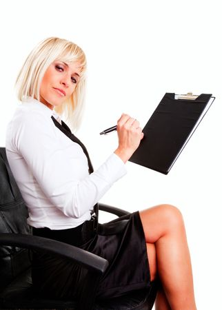 businesswoman sitting and holding documents over white background photo