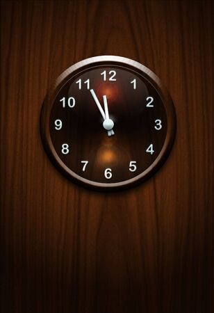wooden clock on wooden wall Stock Photo - 6915040