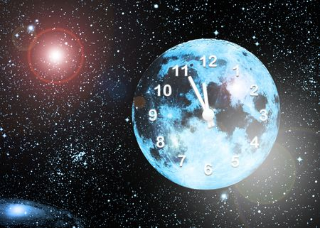 planet clock in space photo