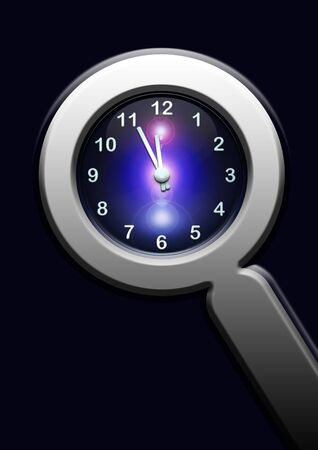 clock in lupe on dark blue background Stock Photo - 6915049