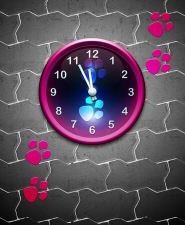 clock with animal track over tiles Stock Photo - 6915032