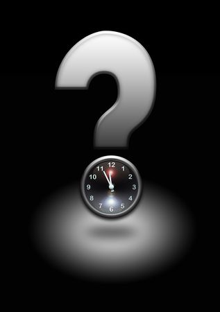 queries: question mark with clock stop Stock Photo