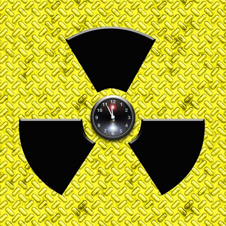 deleterious: radiation sign with clock inside