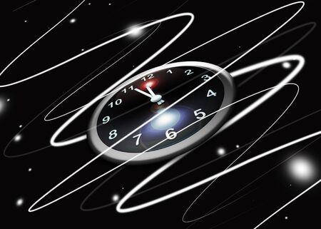 abstract clock in space with lines and lights Stock Photo - 6915047