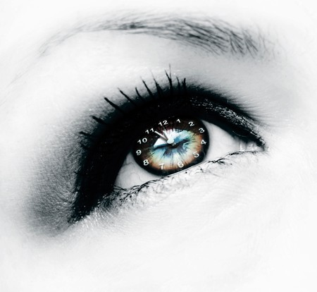 globo ocular: reloj en ojo Foto de archivo