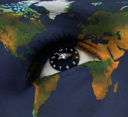 earth clock in eye photo